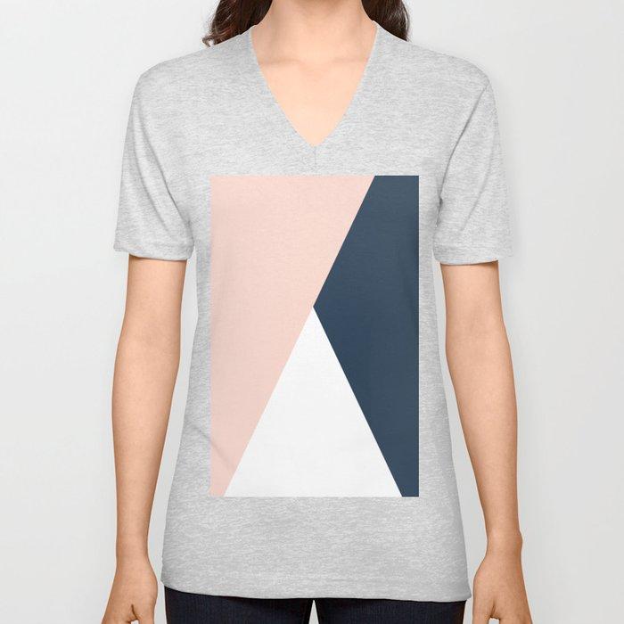 Elegant blush pink & navy blue geometric triangles Unisex V-Ausschnitt