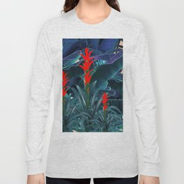 RED BROMELIAD FLOWERS & BLUE  JUNGLE LEAVES Long Sleeve T-shirt