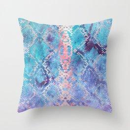 Snakeskin Animal Print - Abstract Design Aqua Blue & Lavender Purple Throw Pillow