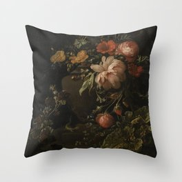Flowers, Lizards and Insects - Elias van den Broeck (1650-1708) Throw Pillow
