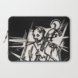 Bossa Pizzicato Jazz Bassist Black and White Block Print Laptop Sleeve