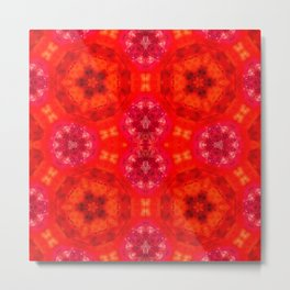 Red agate with a geometric kaleidoscopic design Metal Print