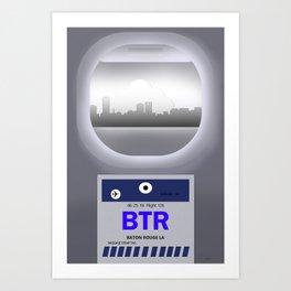 Baton Rouge - BTR -  Airport Code & Skyline Art Print