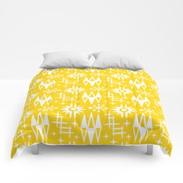 Mid Century Modern Atomic Space Age Pattern Yellow Comforters