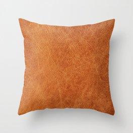 Farmhouse Style Original Camel Leather Oriental Design. Throw Pillow