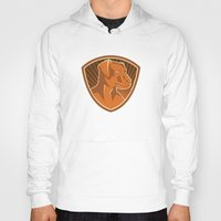 border collie Hoodies featuring Sheepdog Border Collie Shield Retro by retrovectors
