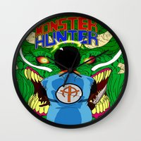 monster hunter Wall Clocks featuring Monster Hunter by Rasheed Daoud Hines