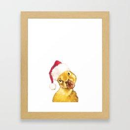 Christmas yellow duckling Framed Art Print