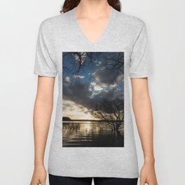 Sunset in the Los Padres lagoon. Unisex V-Neck