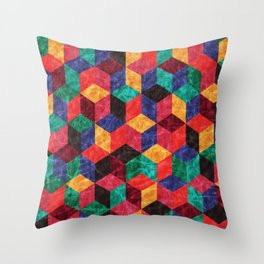Colorful Isometric Cubes V Throw Pillow