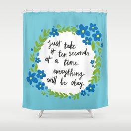 Ten Seconds - Blue Shower Curtain