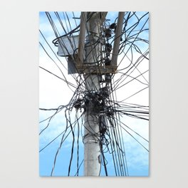 Power Lines on a Pole Canvas Print