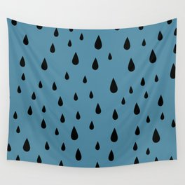 Black Raindrops pattern on Blue background Wall Tapestry