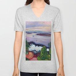 Edvard Munch - Train Smoke Unisex V-Neck