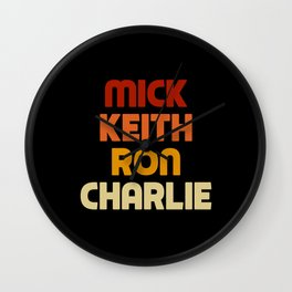 Mick Keith Ron Charlie Wall Clock