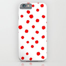 Hand-Drawn Dots (Red & White Pattern) iPhone Case