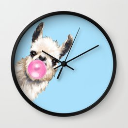 Bubble Gum Sneaky Llama in Blue Wall Clock