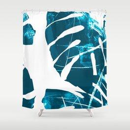 Monstera Leaf Blue Shower Curtain