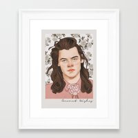 coconutwishes Framed Art Prints featuring H Pink by Coconut Wishes