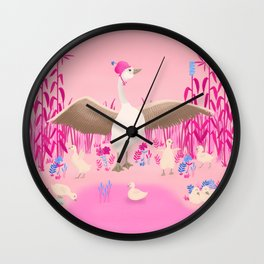 Mommy goose and her little goslings Wall Clock