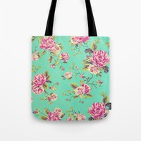 shabby chic Tote Bags featuring Floral Shabby Chic by ilola