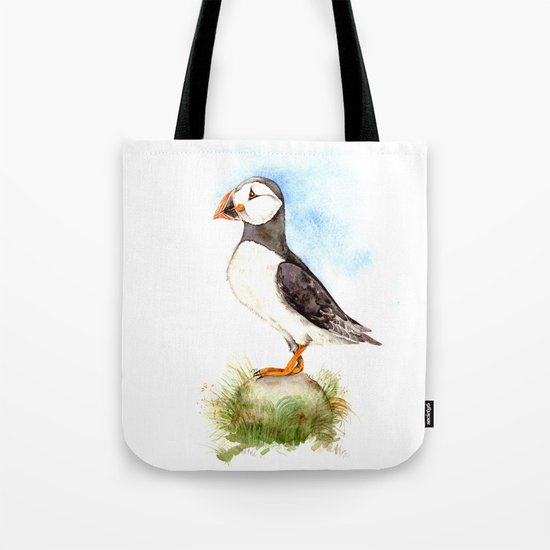 Puffin on a Rock Tote Bag