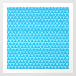 Simple Geometric Triangle Pattern- White on Teal - Mix & Match with Simplicity of life Art Print