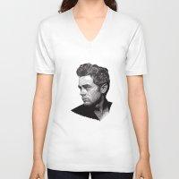james franco V-neck T-shirts featuring James by Rik Reimert