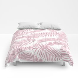 Palm Leaf Pattern Pink Comforters