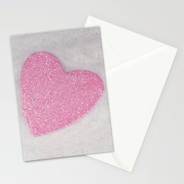 Pink Snow heart Stationery Cards