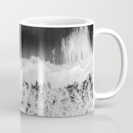 Surfer girls from above in Ericeira Portugal | Ocean wanderlust photography black and white print Coffee Mug