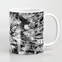 Black Gray & White Tie-Dye Colored Pattern Design // Hand Painted Mandala Multi Media Abstract Coffee Mug