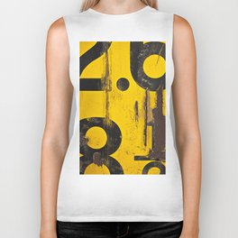 black numbers on yellow background Biker Tank