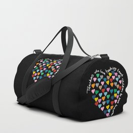 Hearts Heart Teacher Black Duffle Bag