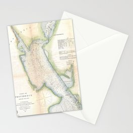 Vintage Port of Providence Rhode Island Map (1865) Stationery Cards