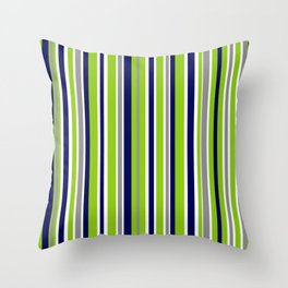 Lime Green Bright Navy Blue Gray and White Vertical Stripes Pattern Throw Pillow