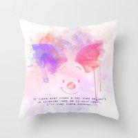 piglet Throw Pillows featuring Always Forever - Piglet by Sara Eshak