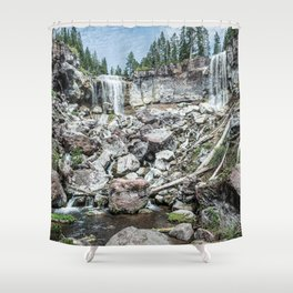 Rock Land Waterfall // Natural Beauty Wilderness Photography Decoration Shower Curtain