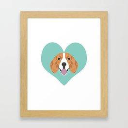 Beagle Love Cute Dog beagle love heart design Framed Art Print