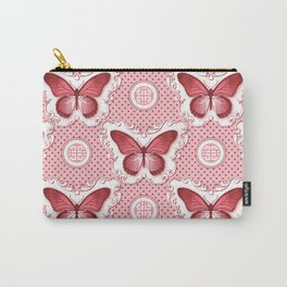 Chinoiseries Porcelain Butterfly Red Carry-All Pouch
