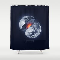 the moon Shower Curtains featuring Moon by Steven Toang