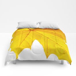 Yellow maple leaf. Comforters