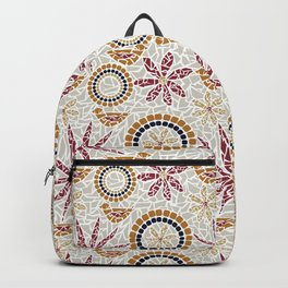 Birds and Flowers Mosaic - Grey, Rust and Red Backpack