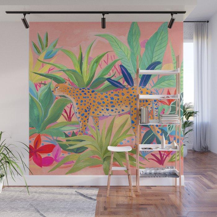 Leopard In Succulent Garden Wall Mural By Sunlee Art