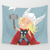 thor Wall Tapestries featuring Thor by Rod Perich