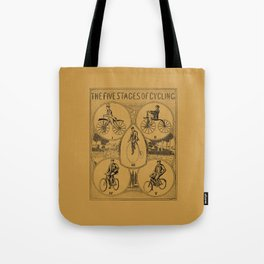 The five stages of cycling (bicycle history) Tote Bag