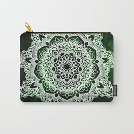 Emerald Spirit Mandala On Green Textured Background Carry-All Pouch