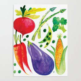 Veg Out - Vegetable, Veggies, Watercolor, Food, Beet, Carrot, Pea Poster