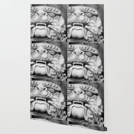 Foo Dog - black and white Wallpaper