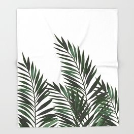 Palm Leaves Green Throw Blanket